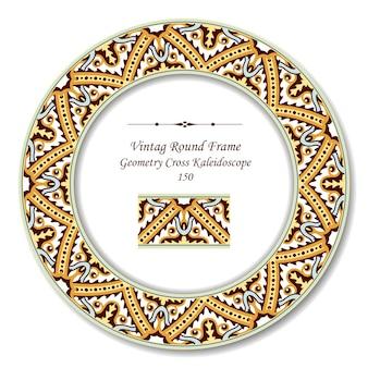Vintage okrągłe ramki retro aborygeńskiej geometrii krzyż kalejdoskop