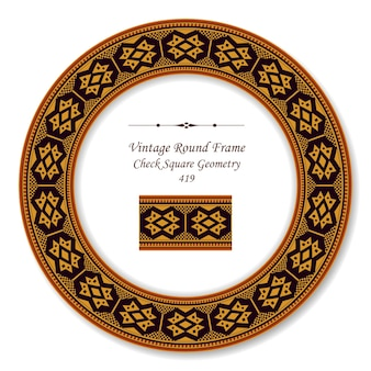 Vintage okrągłe ramki retro aborygeńskiej geometrii kwadratu