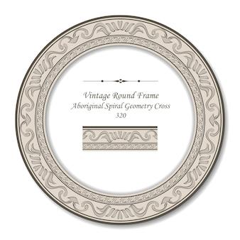 Vintage okrągłe ramki retro aborygeńskiej spirali geometrii krzyża