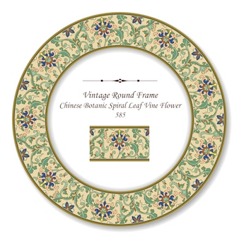 Vintage okrągłe ramki retro chiński botaniczny spiralny liść winorośli kwiat
