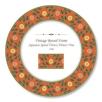 Vintage okrągłe ramki retro japońskie spiralne vortex kwiat winorośli