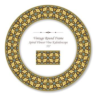 Vintage okrągłe ramki retro kalejdoskop botaniczny spiralny kwiat winorośli