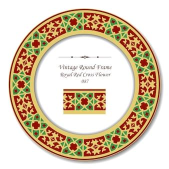Vintage okrągłe ramki retro królewskiego czerwonego krzyża kwiat