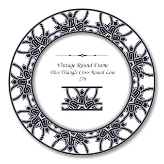 Vintage okrągłe ramki retro niebieski trójkąt krzyż okrągłej linii