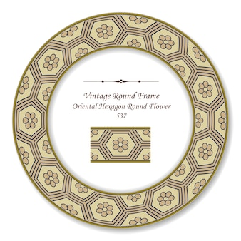 Vintage okrągłe ramki retro orientalne sześciokątne okrągłe kwiaty