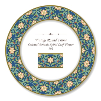 Vintage okrągłe ramki retro orientalny botaniczny spiralny liść kwiat