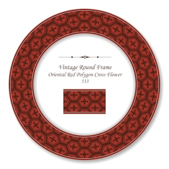 Vintage okrągłe ramki retro orientalny czerwony wielokąt krzyż kwiat