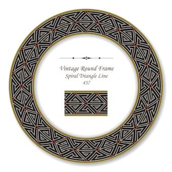 Vintage okrągłe ramki retro spiralnej linii trójkąta