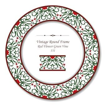 Vintage okrągłe ramki retro winorośli czerwony kwiat zielony