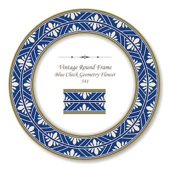 Vintage okrągły retro rama niebieski sprawdź geometria kwiat