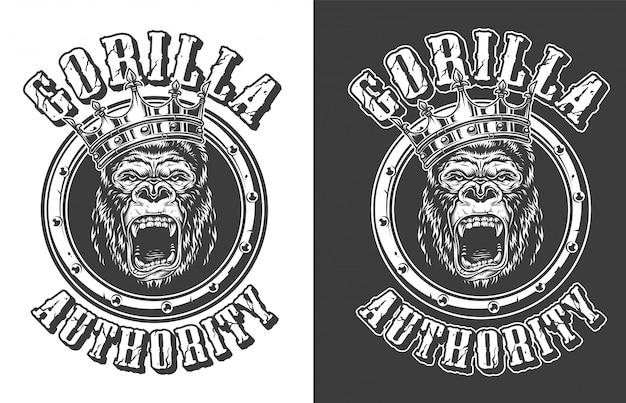 Vintage okrutny godło króla goryla okrągłe
