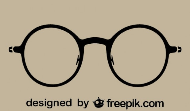 Vintage, okulary, sylwetka, runda ikona