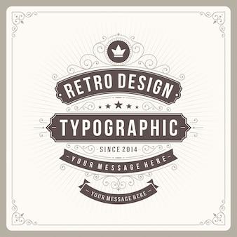 Vintage ornament etykiety z typografią