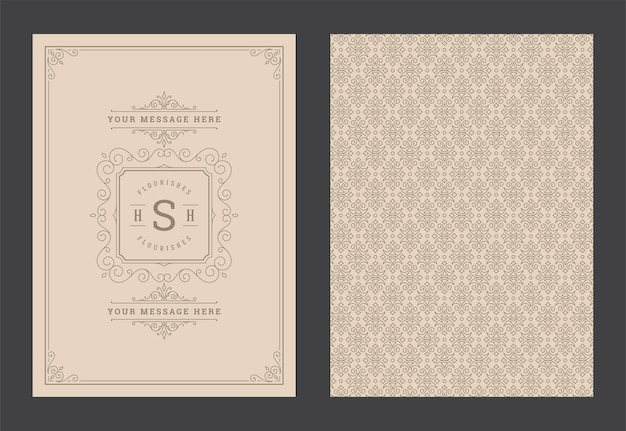 Vintage ornament kartkę z życzeniami kaligraficzne ozdobne wiry i winiety rama szablon projektu