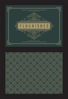 Vintage ornament kartkę z życzeniami kaligraficzne ozdobne wiry i winiety