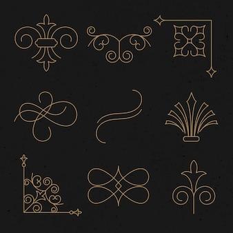 Vintage ornament wektor zestaw w luksusowym złocie