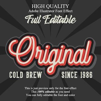 Vintage oryginalny skrypt edytowalny efekt czcionki typografii