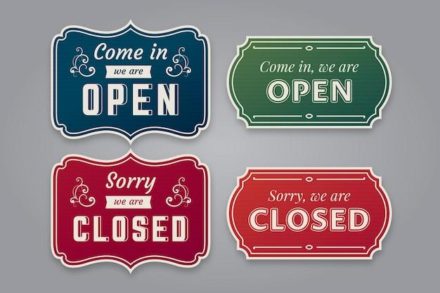 Vintage otwarty i zamknięty pakiet szyldów
