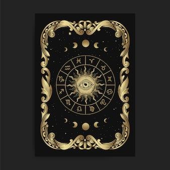 Vintage ozdobna karta koła zodiaku, z grawerowaniem, luksusem, ezoterycznymi, boho, duchowymi, geometrycznymi, astrologicznymi, magicznymi motywami, dla karty czytnika tarota.