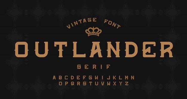 Vintage ozdobny alfabet szeryfowy
