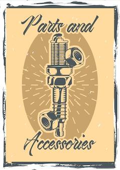 Vintage ozdobny plakat projekt z ilustracją śrub, świeca zapłonowa