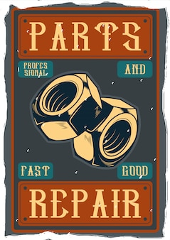 Vintage ozdobny plakat projekt z ilustracją śrub