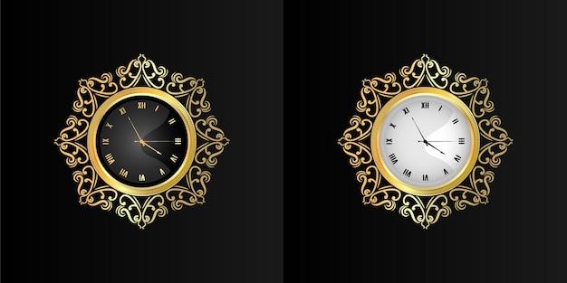 Vintage ozdobny złoty zegar ścienny tarcza retro