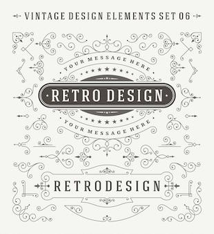 Vintage ozdoby ozdoby zestaw elementów projektu.