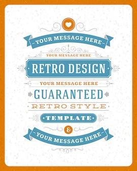 Vintage ozdoby wirują i przewijają dekoracje typograficzne