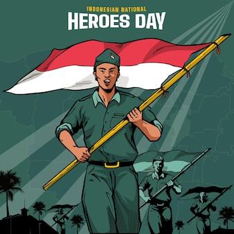 Vintage pahlawan / heroes 'day