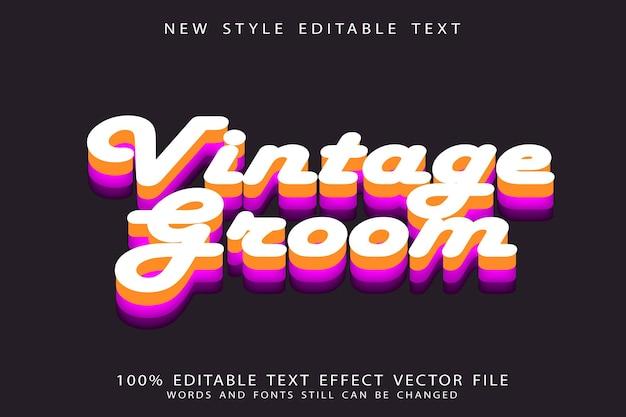 Vintage pan młody edytowalny efekt tekstowy w stylu vintage