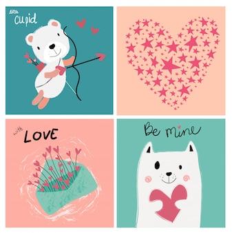 Vintage pastelowa miłość valentine karty