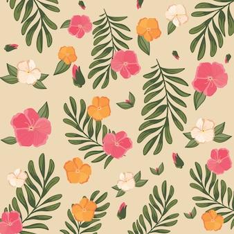Vintage pastelowy kolor kwiatowy wzór kwiatowy