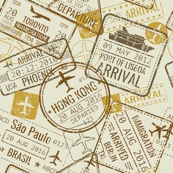 Vintage paszportowych wiz podróży znaczków