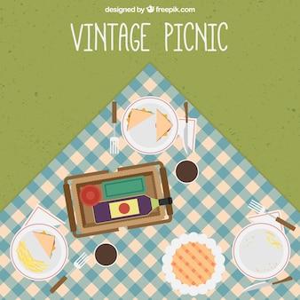 Vintage piknikowy posiłek tle