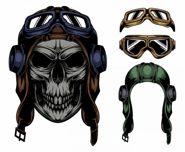 Vintage pilot czaszki