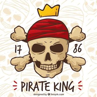 Vintage piratem czaszki tle
