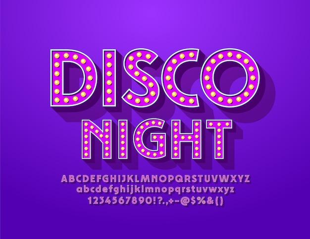 Vintage plakat disco night with violet light bulb font. eleganckie litery alfabetu lampy i cyfry