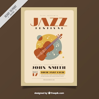 Vintage plakat festiwalu jazzowego ze skrzypcami