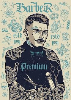Vintage plakat fryzjerski ze stylowym wąsatym fryzjerem i różnymi monochromatycznymi tatuażami