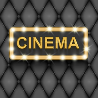 Vintage plakat kinematografii filmowej ze złotym tekstem w 3d na czarnym tle ilustracji
