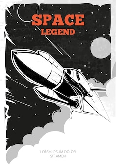 Vintage plakat kosmiczny z promem.
