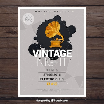 Vintage plakat na imprezę w nocy