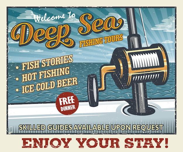Vintage plakat połowów głębinowych