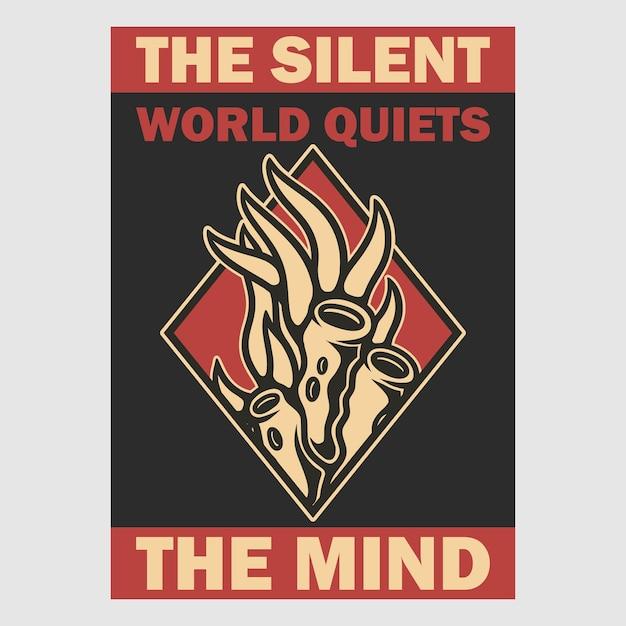 Vintage plakat projekt cichy świat wycisza retro ilustrację