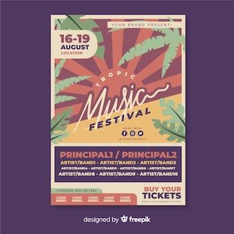 Vintage plakat tropikalny festiwal muzyczny szablon