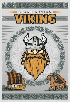 Vintage plakat wikingów