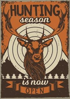Vintage plakat z ilustracją jelenia
