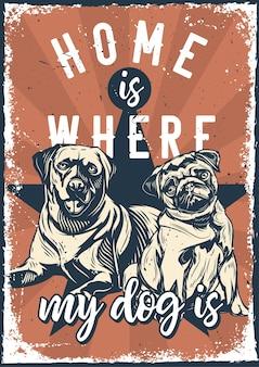 Vintage plakat z ilustracją labradora i mopsa