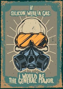 Vintage plakat z ilustracją przedstawiającą czaszkę z respiratorem i okularami